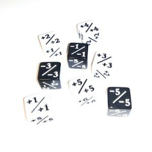 Kraken Wargames – Set de 8 dés – Positif / Negatif – Marqueurs +1/+1 -1/-1