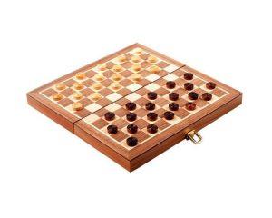 Coffret jeu de Dames en Noyer & Erable – 29 cm